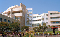Richard Meier: The Getty Center. View of Getty Research Center from garden--unabashed Corbusian Modernism and Mendelsohnian too.  Photo '99.