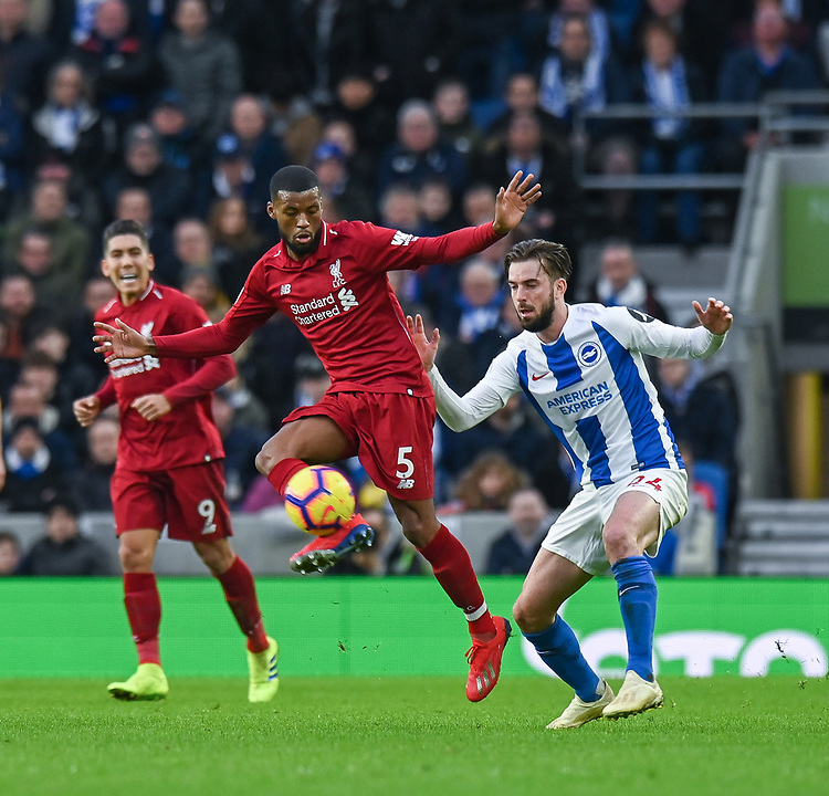 Brighton & Hove Albion's Davy Propper (right) battles with Liverpool's Georginio Wijnaldum (left) <br /> <br /> Photographer David Horton/CameraSport<br /> <br /> The Premier League - Brighton and Hove Albion v Liverpool - Saturday 12th January 2019 - The Amex Stadium - Brighton<br /> <br /> World Copyright © 2018 CameraSport. All rights reserved. 43 Linden Ave. Countesthorpe. Leicester. England. LE8 5PG - Tel: +44 (0) 116 277 4147 - admin@camerasport.com - www.camerasport.com