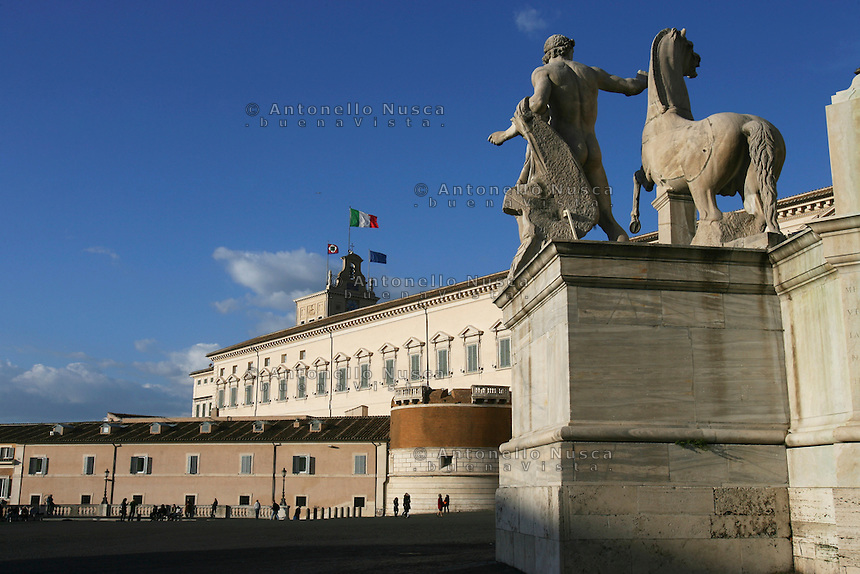 Veduta esterna del Palazzo del Quirinale.<br /> The Quirinale Palace, the official residence of the President of the Italian Republic in Rome.