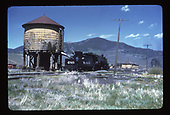 D&amp;RGW #489 taking water at Sargent depoit with coal trestle to right.<br /> D&amp;RGW  Sargent, CO
