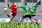 Fergal Griffin Glenbeigh Glencar in action against Diarmuid Carroll Rock Saint Patricks in the Junior Football All Ireland Final in Croke Park on Sunday.