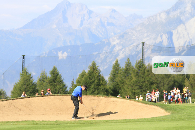 Oliver Fisher (ENG) on the 17th during the 2nd day of the Omega European Masters, Crans-Sur-Sierre, Crans Montana, Switzerland..Picture: Golffile/Fran Caffrey..