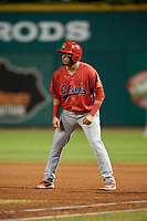 Peoria Chiefs shortstop Rayder Ascanio (18) leads off first base during a game against the Bowling Green Hot Rods on September 15, 2018 at Bowling Green Ballpark in Bowling Green, Kentucky.  Bowling Green defeated Peoria 6-1.  (Mike Janes/Four Seam Images)