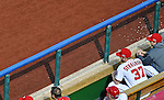 10 October 2012: Washington Nationals pitcher Stephen Strasburg sits in the dugout during Postseason Playoff Game 3 of the National League Divisional Series against the St. Louis Cardinals at Nationals Park in Washington, DC. Strasburg was shut down after a pre-determined number of regular season innings in order to aid in his rehabilitation from Tommy John surgery. The Cardinals shut out the Nationals 8-0 in the third game of their best of five series, giving St. Louis a 2-1 lead in the playoff. Mandatory Credit: Ed Wolfstein Photo