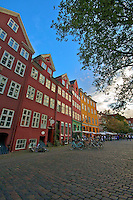 Colourful cobblestone plaza in Copenhagen Denmark