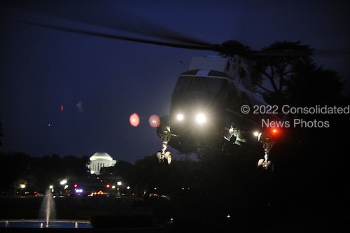 Marine One, carrying United States President Barack Obama, prepares to land on the South Lawn of the White House as the President returns from Florida, June 22, 2012  in Washington, DC.  .Credit: Olivier Douliery / Pool via CNP