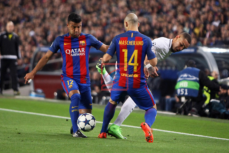 UEFA Champions League 2016/2017.<br /> Round of 16 2nd leg<br /> FC Barcelona vs Paris Saint-Germain: 6-1.<br /> Rafinha, Layvin Kurzawa &amp; Javier Mascherano.