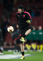 Petr Čech of Arsenal warms up during the UEFA Europa League round of 16 2nd leg match between Arsenal and AC Milan at the Emirates Stadium, London, England on 15 March 2018. Photo by Vince  Mignott / PRiME Media Images.