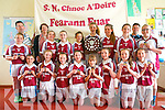 Farranfore National School are celebrating their win in Cumann na mBunscoil last week. <br /> Front L-R Megan and Katie Brosnan, Alanna Glennon, Evelyn Daly, Olivia Gleeson, Alannah O'Leary and Ruth Daly. <br /> Back L-R Aoife Callaghan, Roger O'Donoghue (trainer), Aine Daly (principal), Julianne Murphy, Brid Flynn, Caoimhe O'Shea, Roisin Deniel (captain), Ava Moynihan, Elaine O'Donoghue,  Paudie Deniel (trainer) and Jessica O'Leary