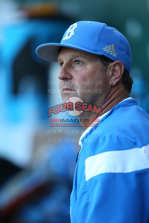 UCLA Bruins Head Coach John Savage (22) during a game against the Hofstra Pride at Jackie Robinson Stadium on March 14, 2015 in Los Angeles, California. UCLA defeated Hofstra, 18-1. (Larry Goren/Four Seam Images)