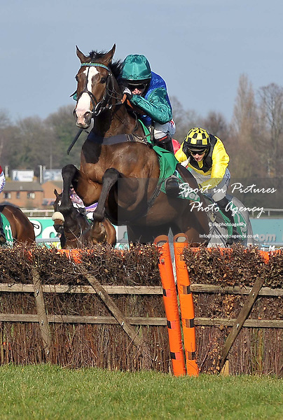 Paintball ridden by Noel Fehily jumps the last. Race 3. Paddy Power Imperial Cup Handicap Hurdle (Listed Race) Cl1. Paddy Power Imperial Cup Day. Sandown Park Racecourse. Esher. Surrey. 10/03/2012. MANDATORY Credit Garry Bowden/Sportinpictures - NO UNAUTHORISED USE - 07837 394578