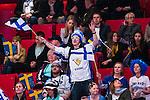 Stockholm 2014-05-03 Ishockey Oddset Hockey Games  Sverige - Finland :  <br /> Finlands supporter under matchen<br /> (Foto: Kenta J&ouml;nsson) Nyckelord:  Oddset Hockey Games Sverige Swe Tre Kronor Finland Fin Globen Ericsson Globe Arena supporter fans publik supporters
