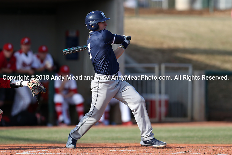 CARY, NC - FEBRUARY 23: Monmouth's Danny Long. The Monmouth University Hawks played the Saint John's University Red Storm on February 23, 2018 on Field 2 at the USA Baseball National Training Complex in Cary, NC in a Division I College Baseball game. St John's won the game 3-0.