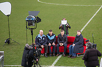 (l-r) Wycombe Trust Direct Trevor Stroud, Wycombe Player Matt Bloomfield, Wycombe Manager Gareth Ainsworth & Bill Turnbull During BBC Breakfast as they air their live broadcast on Tuesday morning, presented by Bill Turnbull for his penultimate appearance on the programme at Adams Park, High Wycombe, England on 23 February 2016. Photo by Andy Rowland.