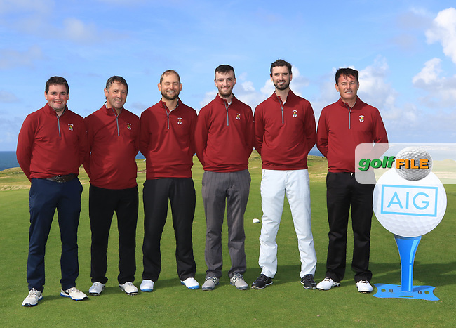 Ballybunion team during the Munster Final of the AIG Senior Cup at Tralee Golf Club, Tralee, Co Kerry. 12/08/2017<br /> <br /> Ed Stack, Team Captain, Hannes Boch, Senan Carroll, David O'Driscoll and Peter Sheehan.<br /> <br /> Picture: Golffile | Thos Caffrey<br /> <br /> All photo usage must carry mandatory copyright credit     (&copy; Golffile | Thos Caffrey)
