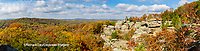 63895-15917 Camel Rock in fall color Garden of the Gods Recreation Area Shawnee National Forest IL