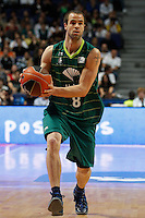 01.04.2012 SPAIN - ACB match played between Real Madrid vs Unicaja  at Palacio de los deportes stadium. The picture show Troy Devries (Unicaja)