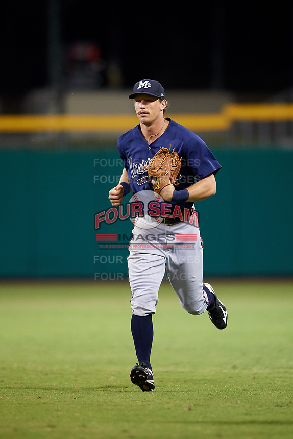 Mississippi Braves center fielder Connor Lien (5) jogs back to the dugout during a game against the Montgomery Biscuits on April 24, 2017 at Montgomery Riverwalk Stadium in Montgomery, Alabama.  Montgomery defeated Mississippi 3-2.  (Mike Janes/Four Seam Images)
