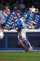 Iowa Cubs catcher Willson Contreras (40) throws to first during a game against the Nashville Sounds on May 4, 2016 at First Tennessee Park in Nashville, Tennessee.  Iowa defeated Nashville 8-4.  (Mike Janes/Four Seam Images)