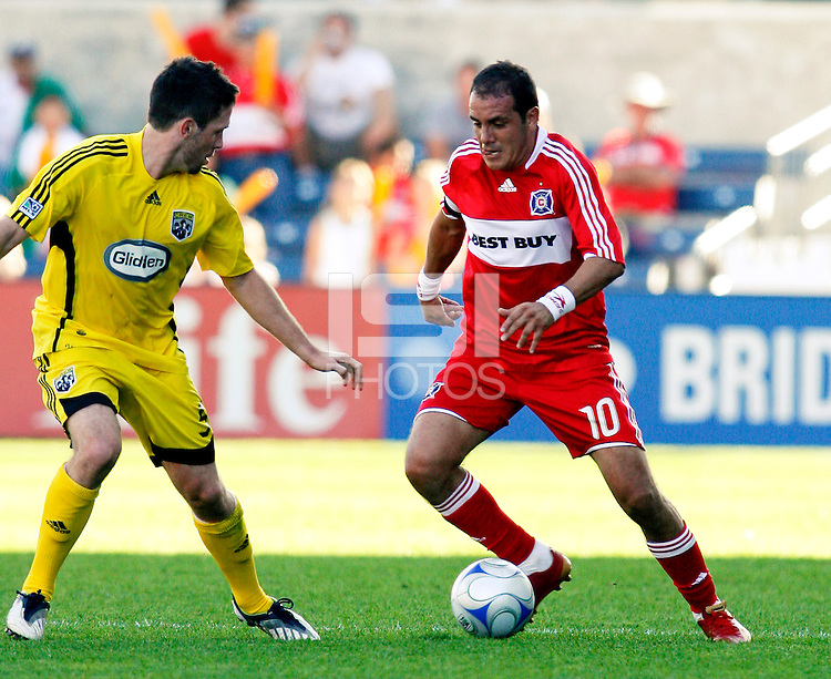 Chicago Fire midfielder Cuauhtemoc Blanco (10) makes a move on Columbus Crew defender Danny O'Rourke (5).  The Chicago Fire tied the Columbus Crew 2-2 at Toyota Park in Bridgeview, IL on October 12, 2008.  Photo by Tracy Allen/isiphotos.com