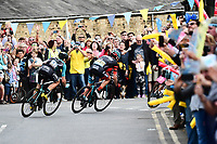 Picture by SWpix.com - 04/05/2018 - Cycling - 2018 Tour de Yorkshire - Stage 2: Barnsley to Ilkley - Yorkshire, England - The leaders come through Elsecar.