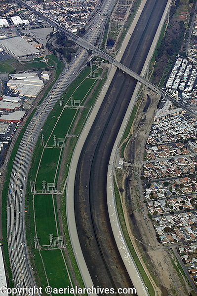 aerial photograph flood control and utility infrastructure Los Angeles, California
