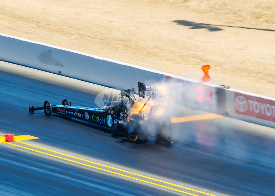 Jul 30, 2017; Sonoma, CA, USA; NHRA top fuel driver Scott Palmer explodes an engine during the Sonoma Nationals at Sonoma Raceway. Mandatory Credit: Mark J. Rebilas-USA TODAY Sports