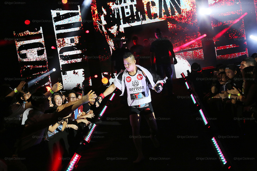Saiful Merican, 1st ranked WMA featherweight, enters the stadium in preparation to fight Melvin Yeoh.<br /><br />MMA. Mixed Martial Arts &quot;Tigers of Asia&quot; cage fighting competition. Top professional male and female fighters from across Asia, Russia, Australia, Malaysia, Japan and the Philippines come together to fight. This tournament takes place in front of a ten thousand strong crowd of supporters in Pelaing Stadium. Kuala Lumpur, Malaysia. October 2015