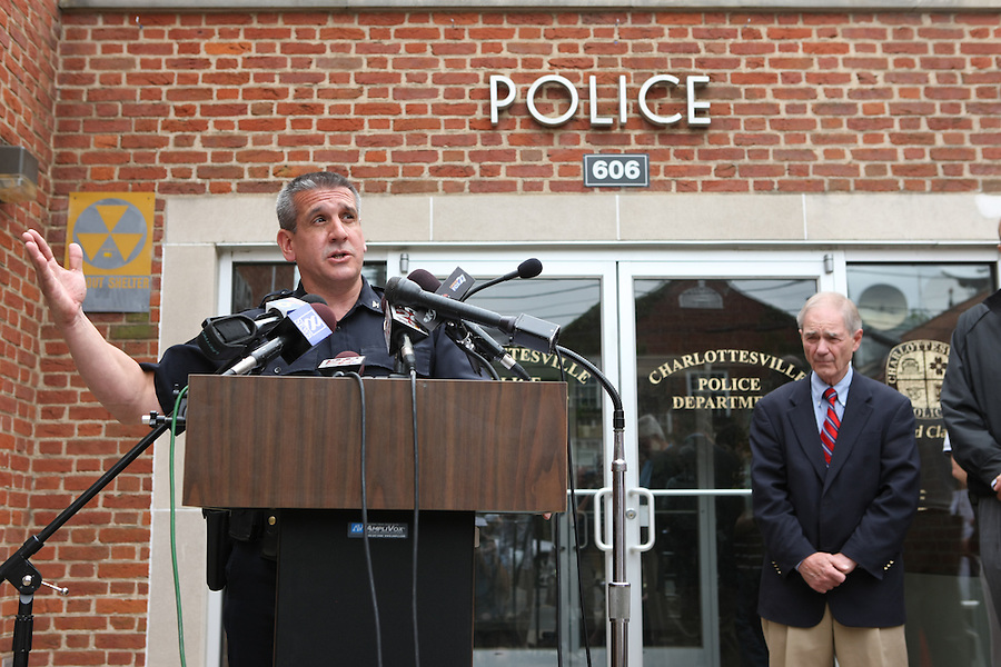 Charlottesville police chief Timothy Longo explained University of Virginia men's lacrosse player George Huguely, 22, a fourth-year student from Chevy Chase, Md., has been charged with first-degree murder in the death of a UVa women's lacrosse player Yeardley Love, 22, a fourth-year student from Cockeysville, Md.,  during a press conference Monday May 3, 2010 in Charlottesville, Va. The alleged incident happened early Monday morning in the Yeardley's apartment located near the University of Virginia. Photo/Andrew Shurtleff