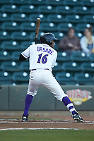 Luis Alexander Basabe (16) of the Winston-Salem Dash at bat against the Salem Red Sox at BB&T Ballpark on April 20, 2018 in Winston-Salem, North Carolina.  The Red Sox defeated the Dash 10-3.  (Brian Westerholt/Four Seam Images)
