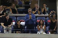 Dylan Brosnan Pierce Brosnan Vanessa Williams<br /> US Open Tennis 9-8-2018<br /> Photo by John Barrett/PHOTOlink