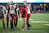 Morgantown, WV - NOV 19, 2016: Oklahoma Sooners head coach Bob Stoops is fired up after his team scores a fourth quarter touchdown during game between West Virginia and Oklahoma at Mountaineer Field at Milan Puskar Stadium Morgantown, West Virginia. (Photo by Phil Peters/Media Images International)