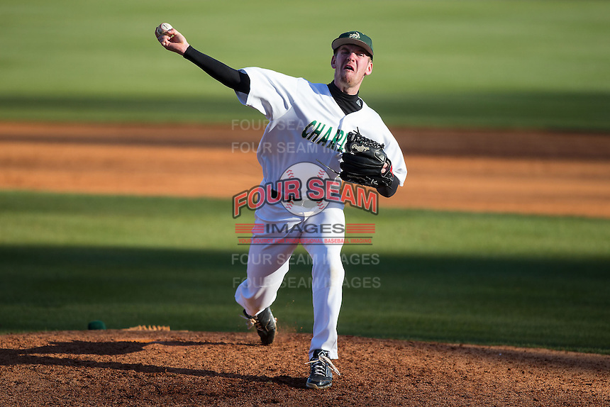 Charlotte 49ers relief pitcher Trevor Gay (27) in action against the Louisiana Tech Bulldogs at Hayes Stadium on March 28, 2015 in Charlotte, North Carolina.  The 49ers defeated the Bulldogs 9-5 in game two of a double header.  (Brian Westerholt/Four Seam Images)