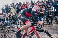 Jempy Drucker (LUX/BMC) up the infamous Kapelmuur<br /> <br /> Omloop Het Nieuwsblad 2018<br /> Gent › Meerbeke: 196km (BELGIUM)
