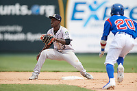 Kane County Cougars shortstop Jasrado Chisholm (3) waits for a throw as Yeiler Peguero (20) attempts to steal second base during a game against the South Bend Cubs on May 3, 2017 at Four Winds Field in South Bend, Indiana.  South Bend defeated Kane County 6-2.  (Mike Janes/Four Seam Images)