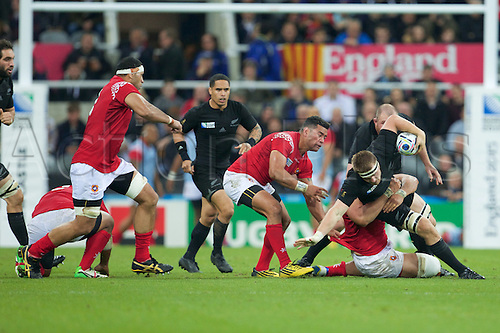 09.10.2015. St James Park, Newcastle, England. Rugby World Cup. New Zealand versus Tonga. New Zealand All Black flanker Sam Cane is tackled.
