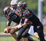 Wesclin quarterback Devon Kahrhoff pitches the ball out. Wesclin defeated Dupo 34-30 on Saturday August 31, 2019 in a game that was stopped Friday night at halftime due to storms. <br /> Tim Vizer/Special to STLhighschoolsports.com