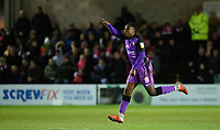 Port Vale's Emmanuel Oyeleke celebrates scoring his side's equalising goal to make the score 1-1<br /> <br /> Photographer Chris Vaughan/CameraSport<br /> <br /> The EFL Sky Bet League Two - Lincoln City v Port Vale - Tuesday 1st January 2019 - Sincil Bank - Lincoln<br /> <br /> World Copyright © 2019 CameraSport. All rights reserved. 43 Linden Ave. Countesthorpe. Leicester. England. LE8 5PG - Tel: +44 (0) 116 277 4147 - admin@camerasport.com - www.camerasport.com