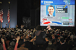 CNN projects an Obama victory in Virginia, which gives Obama enough states and delegates to become the 44th U.S. President, as seen on a jumbotron screen in Grant Park in Chicago, Illinois on November 4, 2008.