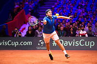 Le joueur de tennis fran&ccedil;ais Lucas Pouille oppos&eacute; au joueur Croate Marin Cilic lors de la  Finale de la Coupe Davis France vs Croatie, au Stade Pierre Mauroy &agrave; Villeneuve d'Ascq .<br /> France, Villeneuve d'Ascq , 25 novembre 2018.<br /> French tennis player Lucas Pouille vs Croatian tennis players Marin Cilic during the final of the Davis Cup, at the Pierre Mauroy stadium in Villeneuve d'Ascq .<br /> France, Villeneuve d'Ascq , 25 November 2018