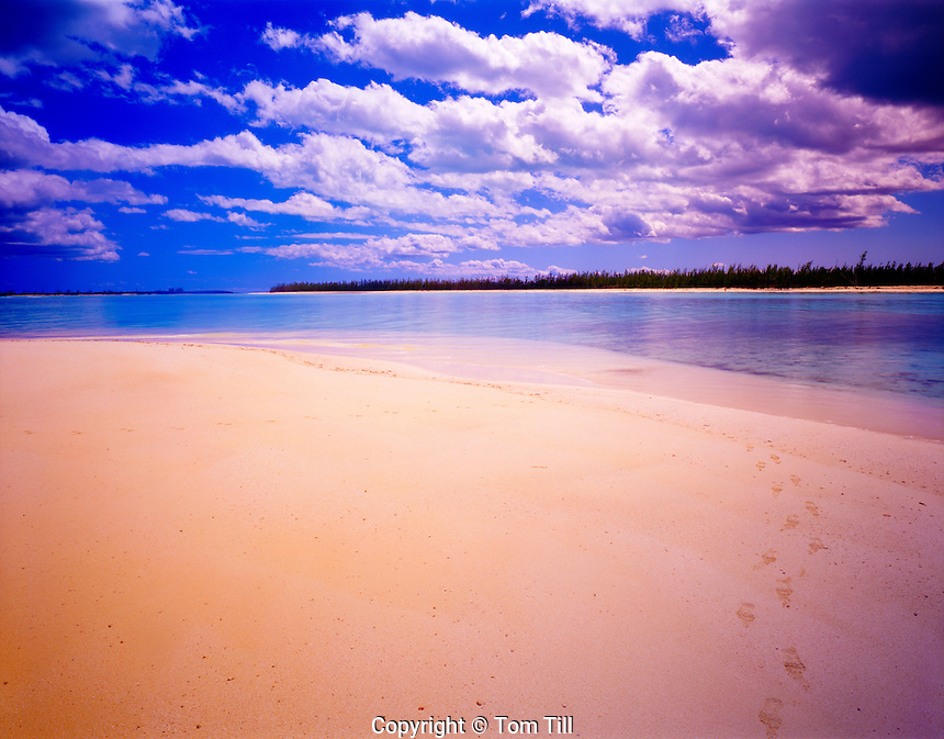 Deserted Beach, Green Turtle Cay, Abaco Islands, Bahamas Caribbean Sea