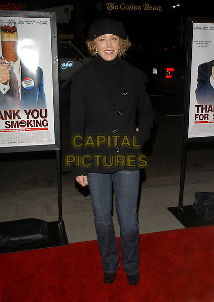"FELICITY HUFFMAN.L.A. Premiere of ""Thank You for Smoking"" held at The Directors Guild of America in Hollywood, California, USA. March 16th, 2006 .Ref: DVS.full length coat polo neck turtleneck black hat jeans denim.www.capitalpictures.com.sales@capitalpictures.com.Supplied By Capital PIctures"