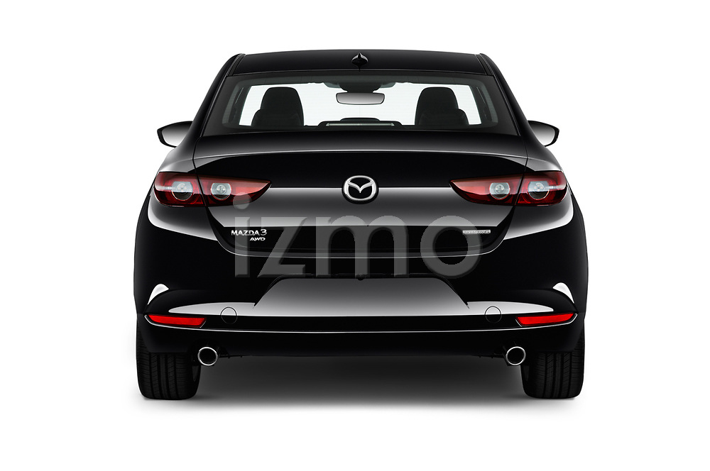 Straight rear view of 2019 Mazda Mazda-3 Preferred-Package 4 Door Sedan Rear View  stock images