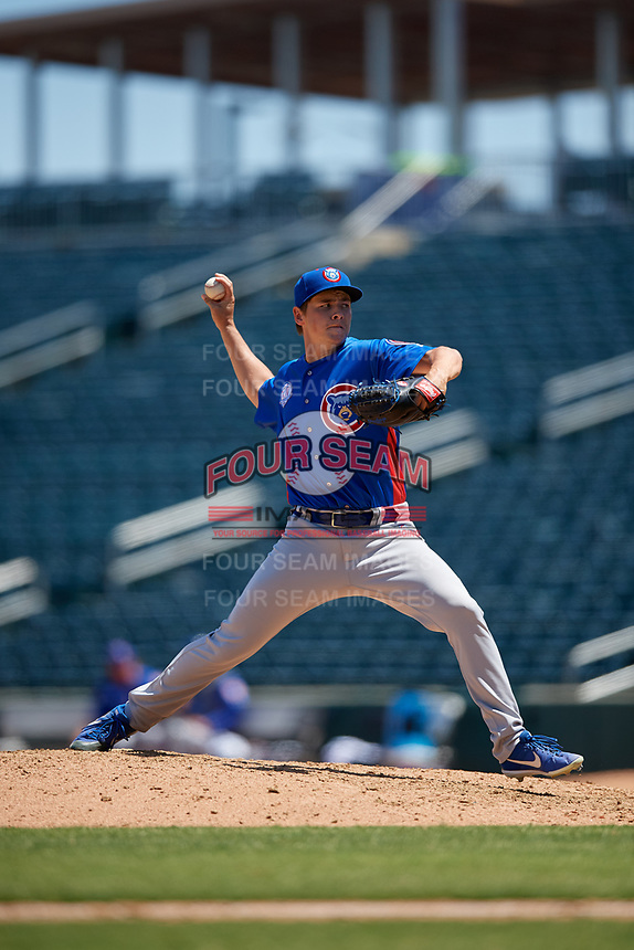 Tennessee Smokies relief pitcher Michael Rucker (18) during a Southern League game against the Jacksonville Jumbo Shrimp on April 29, 2019 at Baseball Grounds of Jacksonville in Jacksonville, Florida.  Tennessee defeated Jacksonville 4-1.  (Mike Janes/Four Seam Images)