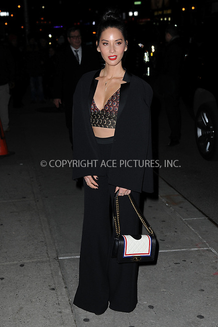 WWW.ACEPIXS.COM<br /> January 14, 2016 New York City<br /> <br /> Olivia Munn arriving to tape an appearance on  'The Late Show with Stephen Colbert' on January 14, 2016 in New York City.<br /> <br /> Credit: Kristin Callahan/ACE Pictures<br /> <br /> Tel: (646) 769 0430<br /> e-mail: info@acepixs.com<br /> web: http://www.acepixs.com
