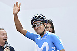 Richard Carapaz (ECU) Movistar Team at sign on before the start of Stage 13 of the 2019 Giro d'Italia, running 196km from Pinerolo to Ceresole Reale (Lago Serrù), Italy. 24th May 2019<br /> Picture: Fabio Ferrari/LaPresse | Cyclefile<br /> <br /> All photos usage must carry mandatory copyright credit (© Cyclefile | Fabio Ferrari/LaPresse)