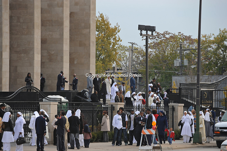 The Maryam Mosque, the Nation of Islam headquarters, following a speech by Nation of Islam leader Louis Farrakhan is seen in Chicago, Illinois on November 2, 2008.