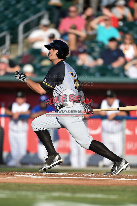 South Bend Silver Hawks first baseman Daniel Palka (24) at bat during a game against the Lansing Lugnuts on June 6, 2014 at Cooley Law School Stadium in Lansing, Michigan.  South Bend defeated Lansing 13-5.  (Mike Janes/Four Seam Images)