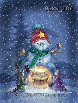 Randy, CHRISTMAS SANTA, SNOWMAN, WEIHNACHTSMÄNNER, SCHNEEMÄNNER, PAPÁ NOEL, MUÑECOS DE NIEVE, paintings+++++Snowman-Nativity-figures,USRW186,#x# whimsical