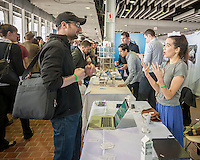 Visitors and job seekers attend the TechDay New York event on Thursday, April 23, 2015. Thousands attended to seek jobs with the startups and to network with their peers. TechDay bills itself as the world's largest startup event with over 300 exhibitors. (© Richard B. Levine)